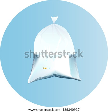 fish in Plastic bag - stock vector