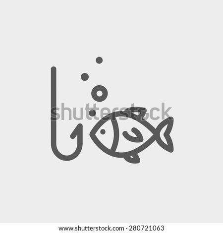 Fish is looking on a fish hook icon thin line for web and mobile, modern minimalistic flat design. Vector dark grey icon on light grey background. - stock vector