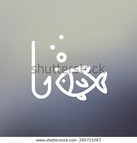 Fish is looking on a fish hook icon thin line for web and mobile, modern minimalistic flat design. Vector white icon on gradient mesh background. - stock vector