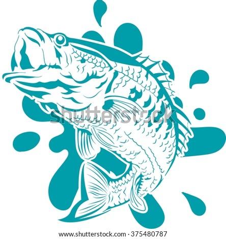 Fish jumping vector - stock vector