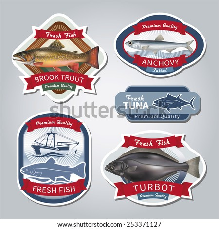 Fish labels set 5. Vector eps 10. - stock vector