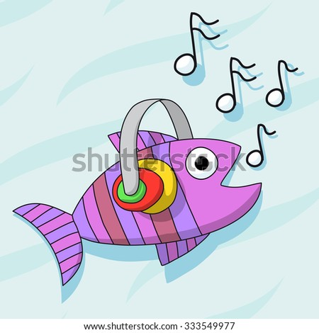 Fish listening music with headphones - stock vector