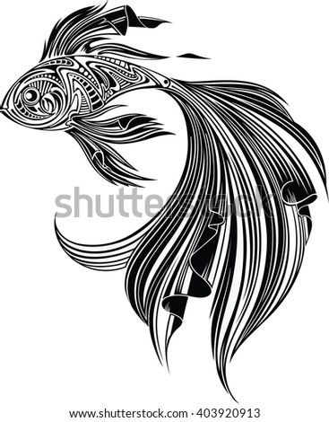 Fish, monochrome I - stock vector