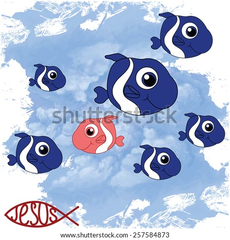 fish on sky background - stock vector