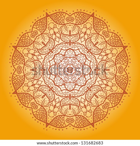 Fish. Oriental Yellow mandala motif round lase pattern on the black background, like snowflake or mehndi paint on yellow color background - stock vector