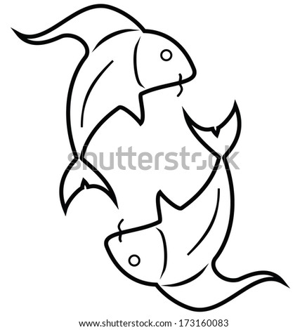 Fish - Pisces Yin-Yang style fishes. / The zodiac symbol of pisces. - stock vector