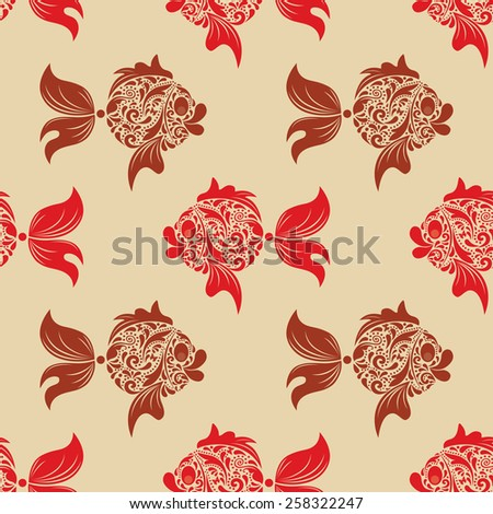 Fish print. - stock vector