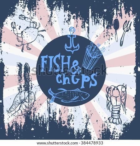 Fish and chips stock vectors vector clip art shutterstock for Fish 101 menu