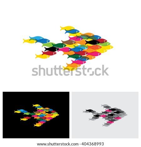 fish school vector logo icon in eps 10 format - stock vector