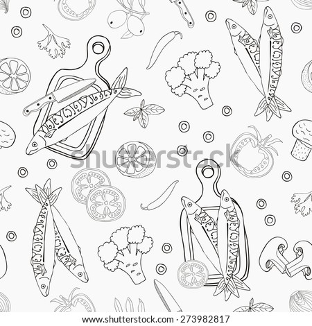 Fish seamless background. Vector illustration. - stock vector