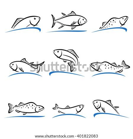 Fish set. Vector - stock vector