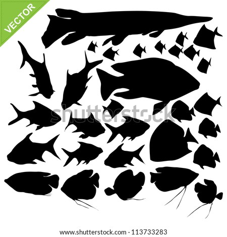 Fish silhouettes vector collections - stock vector