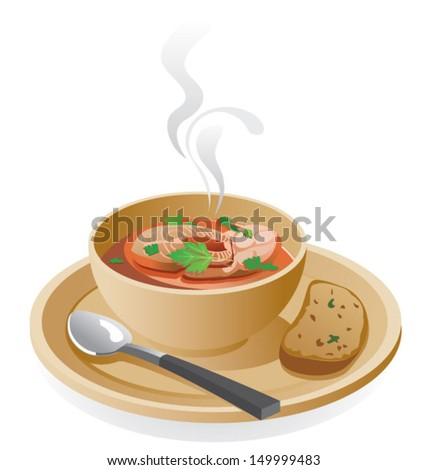 Fish soup - stock vector