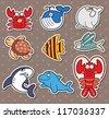 fish stickers - stock vector