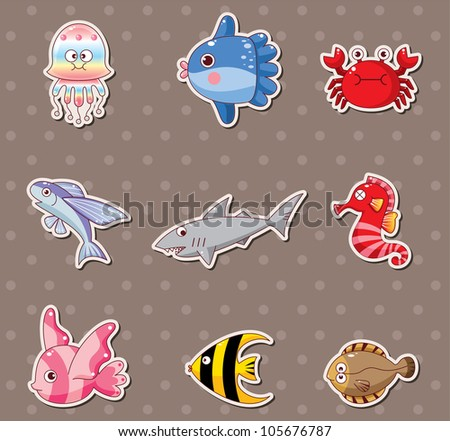 fish stickers - stock vector