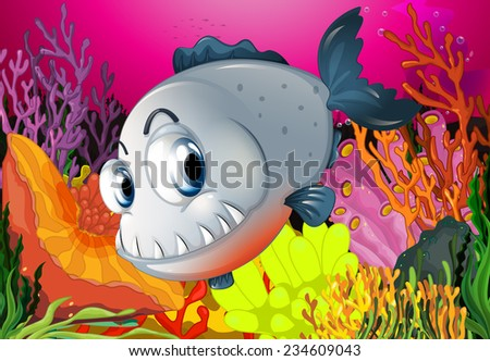 Fish swimming around the beautiful coral - stock vector