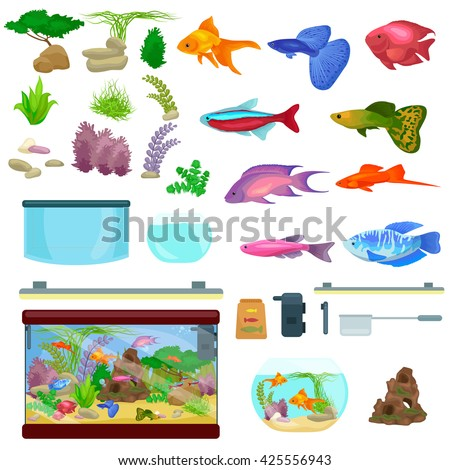 Fish tank, aquarium with water, animals, algae, corals, equipment - stock vector