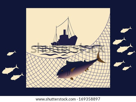 Fish tuna, fishing net, silhouette of seiner, waves on a yellow-blue background. - stock vector