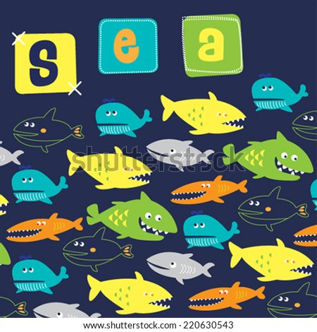 fish whale shark pattern vector illustration - stock vector