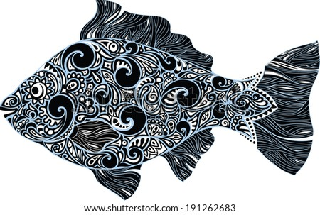 Fish with a pattern - stock vector