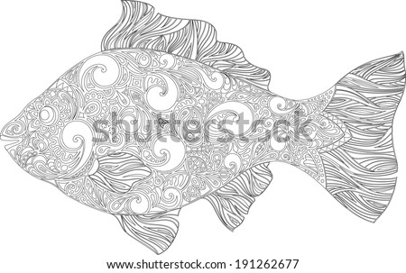 Fish with a pattern (circuit) - stock vector