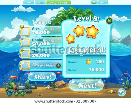 Fish world - Example of window level completion in cartoon style  for video or web design, game user interface - stock vector