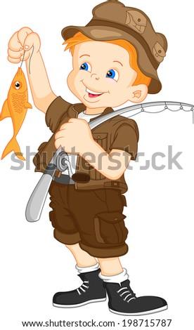 fisherman and fish - stock vector