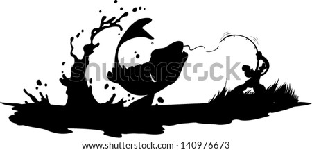 Fisherman catching fish - stock vector