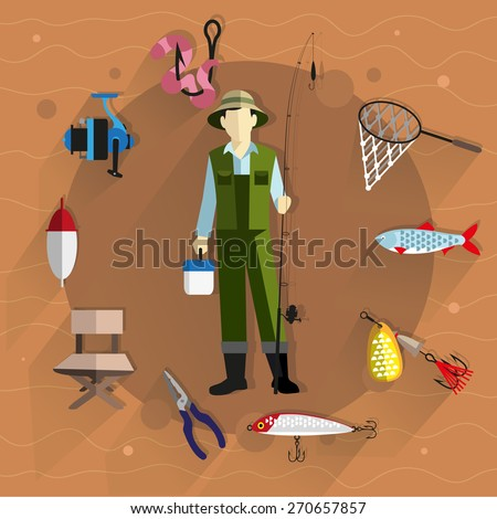 Fisherman in overalls with a fishing rod in his hands. Around him fishing tackle and accessories. Flat style icons - stock vector