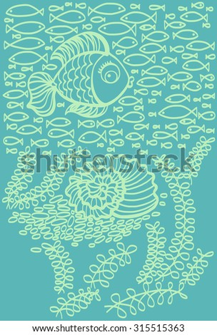 Fishes in sea with shell and seaweed. Cartoon illustration.  - stock vector
