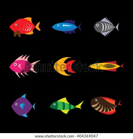 Fishes types vector icons in eps 10 format - stock vector