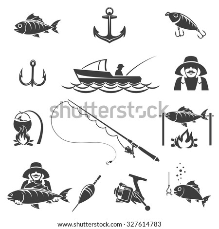 Fishing black icons vector set. Sport and fish hook, fisherman recreation illustration - stock vector