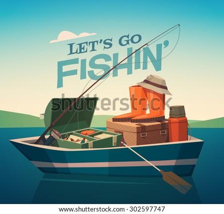 Fishing boat. Vector illustration. - stock vector