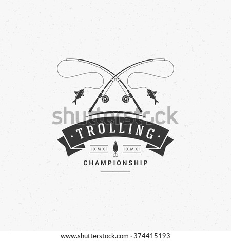 Fishing Club Logo Template. Two Fish and Hook Silhouette Isolated On White Background. Vector object for Labels, Badges, Logos. Fish Logo, Fisher Logo, Fish Silhouette, Hook Silhouette, Spinning Logo. - stock vector