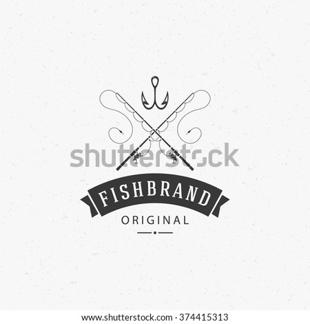 Fishing Club Logo Template. Two Fish and Hook Silhouette Isolated On White Background. Vector object for Labels, Badges, Logos. Fishing Rod Logo, Hook Logo, Hook Silhouette. - stock vector
