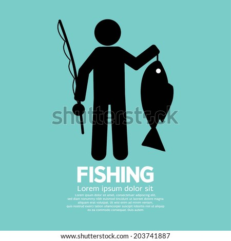 Fishing Graphic Sign Vector Illustration - stock vector