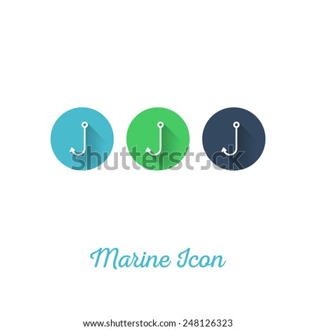 Fishing Hook Marine Flat Icon - Webdesign Element with Long Shadow - Vector Illustration - stock vector
