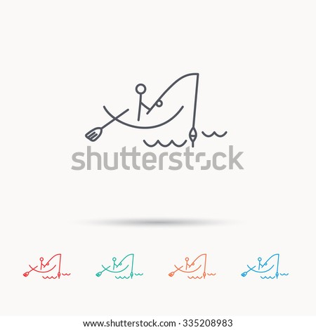 Fishing icon. Fisherman on boat in waves sign. Spinning sport symbol. Linear icons on white background. - stock vector
