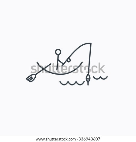 Fishing icon. Fisherman on boat in waves sign. Spinning sport symbol. Linear outline icon on white background. - stock vector