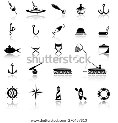 Fishing icon set - stock vector
