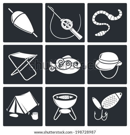 Fishing Icons set - stock vector