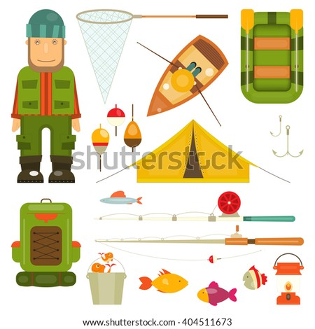 Fishing Icons Set: Fisherman and Equipment for Fishing: Fishing Rod, Hooks, Boat, Fish, Tent, Bobber. Isolated on White Background. Vector illustration. - stock vector