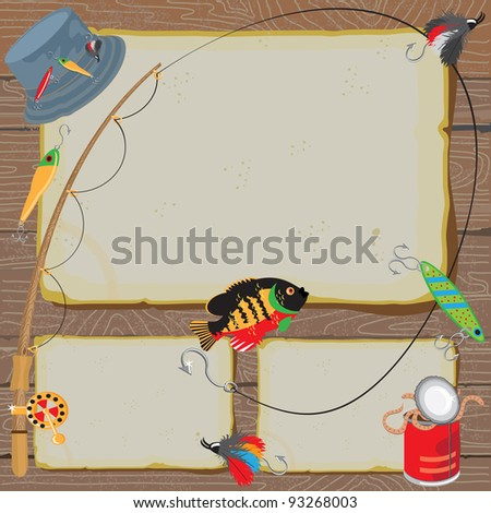 Fishing Invitation on old worn paper & woodgrain background - stock vector