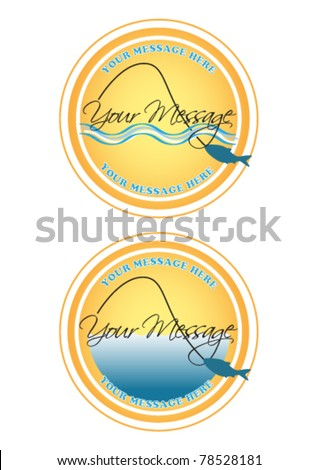 Fishing labels or buttons - stock vector
