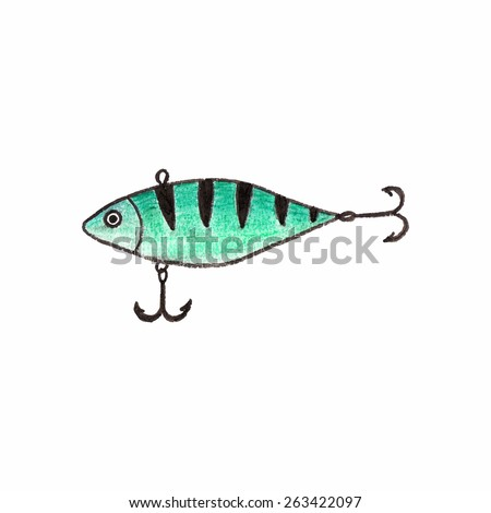 Fishing lure. Doodle wobbler with two triple hooks on the white background.  Vector illustration. Hand-drawn decorative element. Real watercolor drawing - stock vector