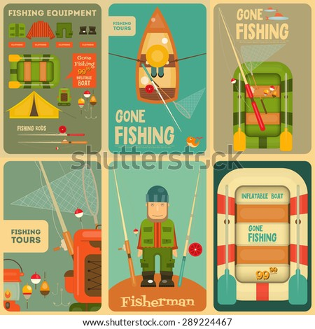 Fishing Mini Posters Set: Fisherman and Equipment for Fishing: Fishing Rod, Hooks, Boat, Fish, Tent, Bobber. Layered file. Vector illustration. - stock vector