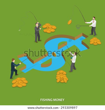 Fishing money flat isometric vector concept. Businessmen are fishing money in water body that looks like dollar sign. - stock vector