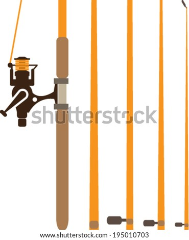 Fishing Pole sections vector - stock vector