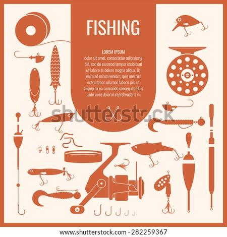 Fishing reel, hooks, float, fishing line, lure, bait. Icons and illustrations for design, website, infographic, poster, advertising. - stock vector