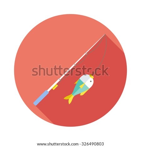 Fishing rod flat icon with long shadows. - stock vector